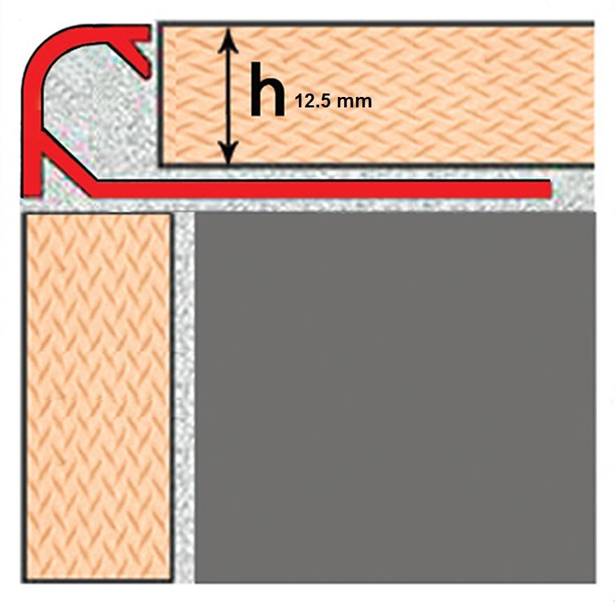 پروفیل نبشی رندک (Code: TP125) hight: 12.5 mm Length: 2.5 m